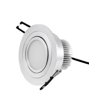 LED downlight — ROUND, IP44, adjustable & dimmable 9W, brushed aluminum, high CRI97