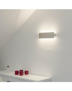 Indoor LED wall light fixture — STRAIGHT 300, water resistant IP44, brushed aluminium 6,5W