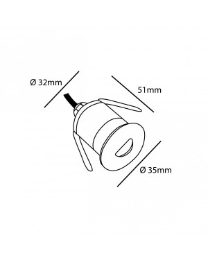 Led spot for sauna, recessed, 1W, 100 lm, half moon