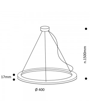 Suspended LED light fixture — RINKELI 40cm, 25W, CRI92, dimmable