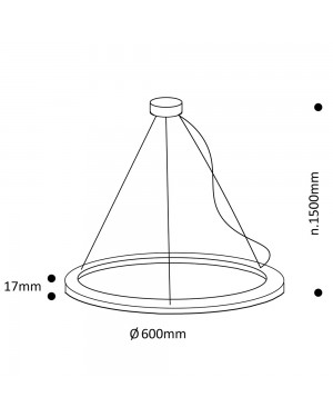 Suspended LED light fixture — RINKELI 60cm, 38W, CRI92, dimmable
