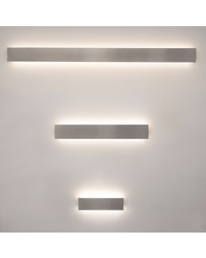Indoor LED wall light fixture — STRAIGHT 600 water resistant IP44, brushed aluminium 17W