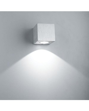 Indoor LED wall light — CUBIC 3W, one direction, brushed aluminium, high CRI90